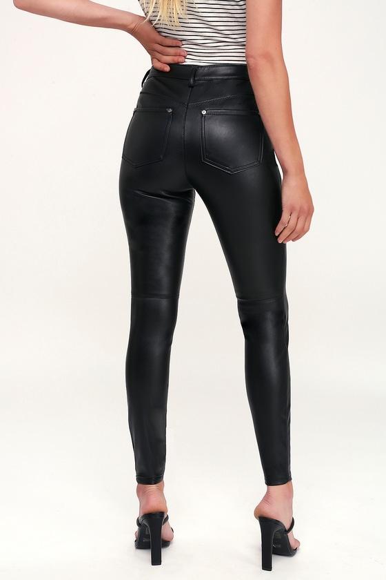 54afec5c72 Free People Long and Lean - Black Vegan Leather Leggings