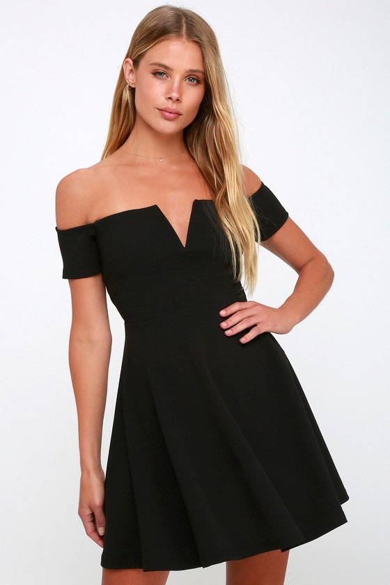 f507fe55e3d Cool Black Dress - Off-the-Shoulder Dress - Black Skater Dress