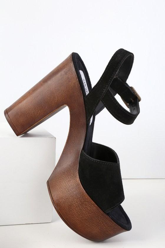 18dfc1e6600 Steve Madden Lulla - Black Platform Sandals - Suede Sandals