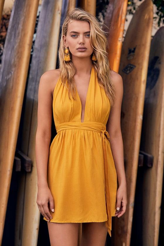 3d817ecbac020 Cute Mustard Yellow Dress - Wrap Dress - Halter Dress