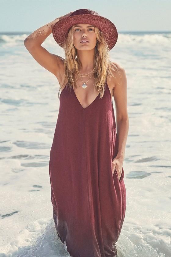 2a7cd67599 Boho Maxi Dress - Casual Dress - Burgundy Dress
