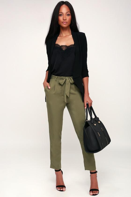 f28f411cda27 Olive Green Trouser Pants - Trousers - Woven Pants - Dress Pants