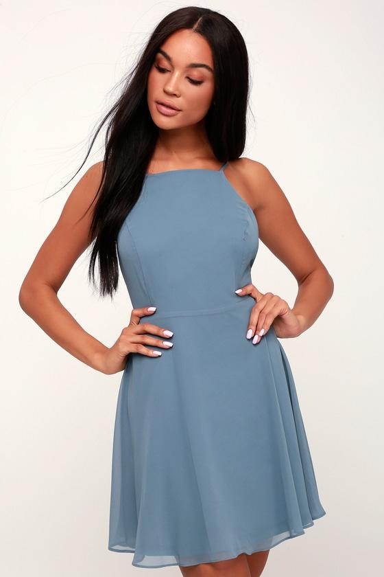 bf6b41cf0464 Lovely Slate Blue Dress - Skater Dress - Fit and Flare Dress