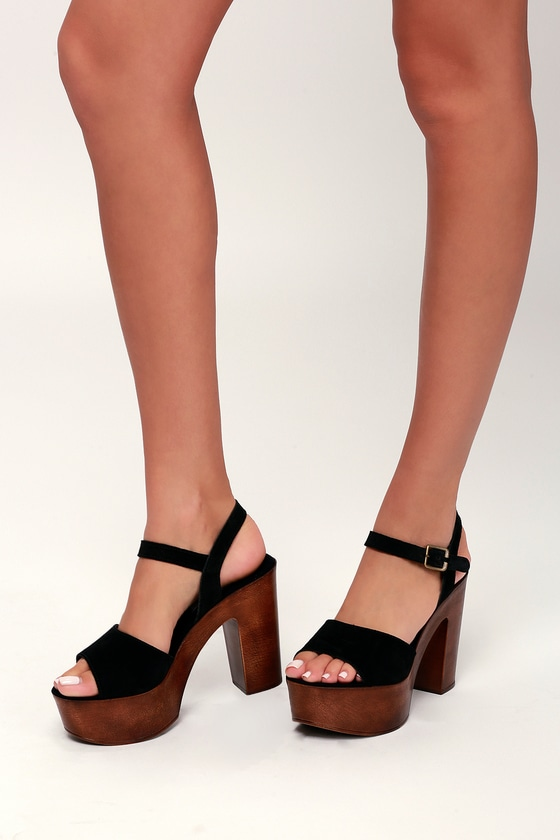 56f3dd0da58 Steve Madden Lulla - Black Platform Sandals - Suede Sandals
