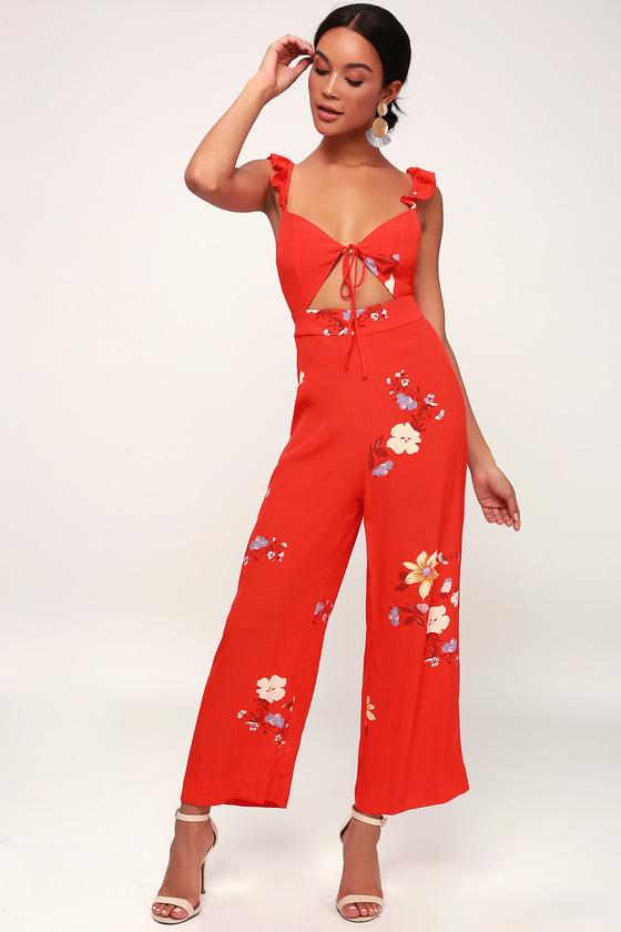 8af7a6f26d6 Capulet Annabel - Red Jumpsuit - Red Floral Print Jumpsuit
