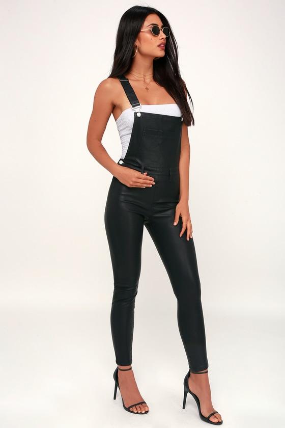 c8f1180d01 Black NYC All Good - Black Overalls - Vegan Leather Overalls