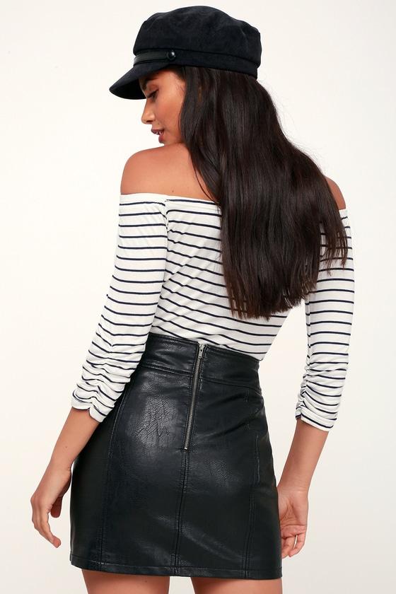 8f8ae0fcf449 Free People Retro - Black Skirt - Vegan Leather Mini Skirt