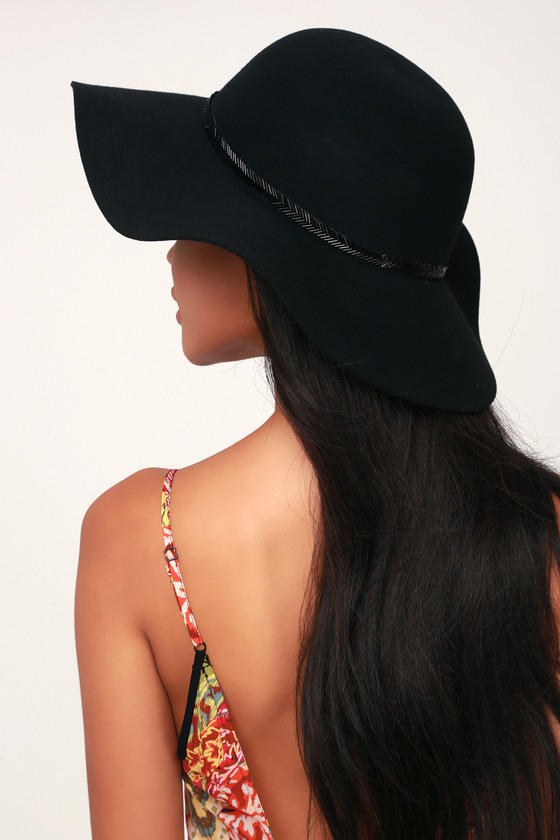 27da7315 Cute Black Hat - Floppy Hat - Sun Hat - Beaded Hat