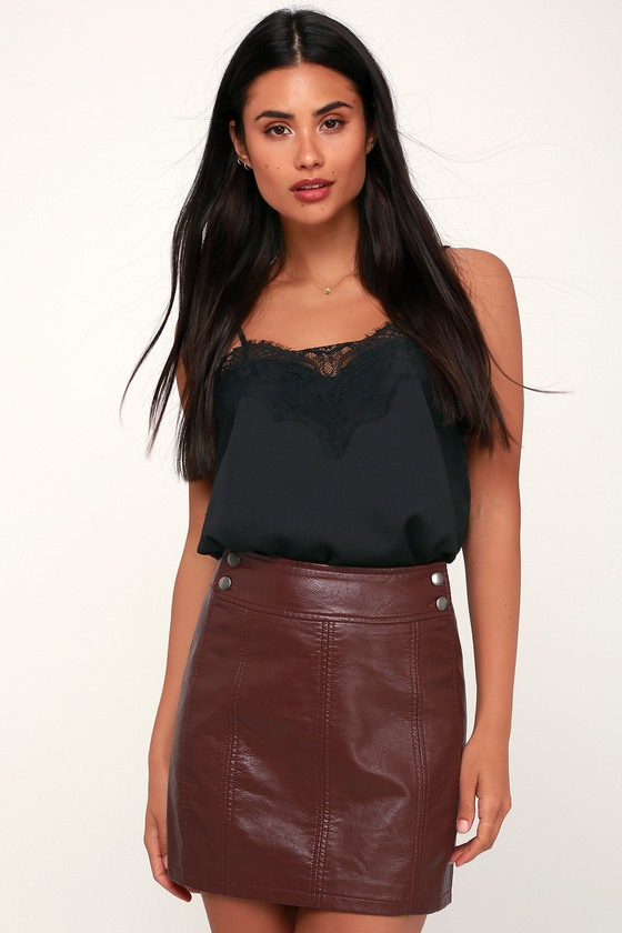 e62679cea0 Free People Retro - Burgundy Skirt - Vegan Leather Mini Skirt