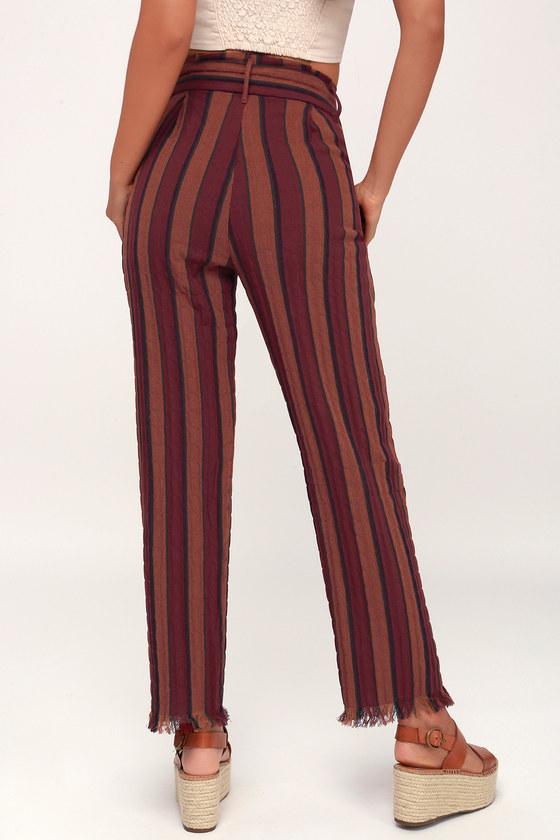 ceefac00506c1a Cool Burgundy Striped Pants - Paper Bag Waist Pants - Casual Pant