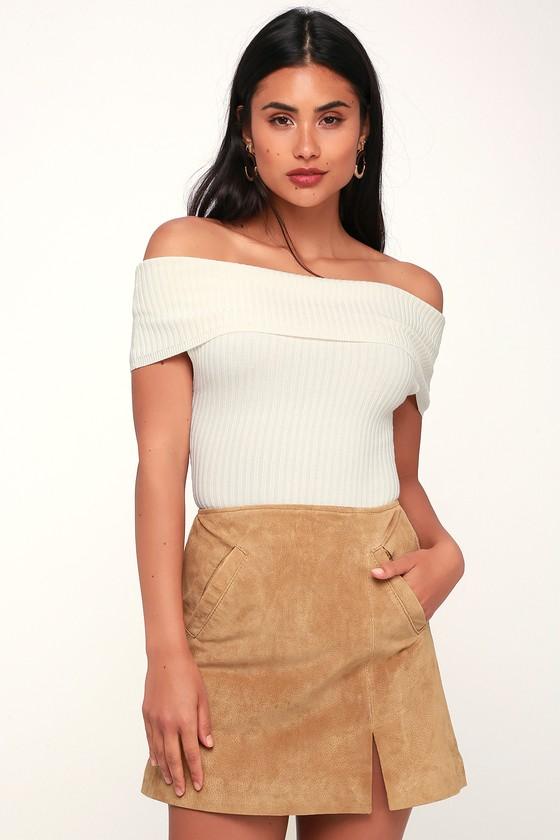 f1cd27bdf6 Blank NYC Venice Beach - Tan Suede Leather Skirt - Mini Skirt