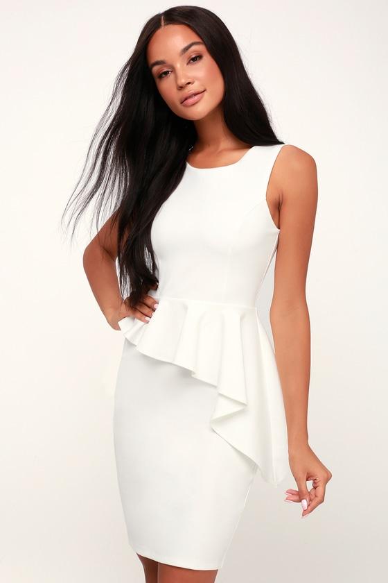 f38b23438687d Sexy White Bodycon Dress - Chic Ruffled Dress - Sleeveless Dress