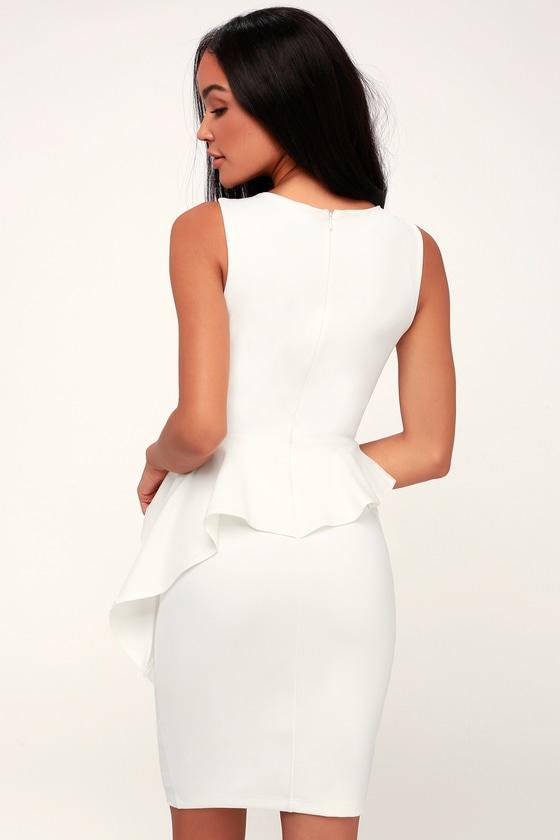 c2e6418b37 Sexy White Bodycon Dress - Chic Ruffled Dress - Sleeveless Dress