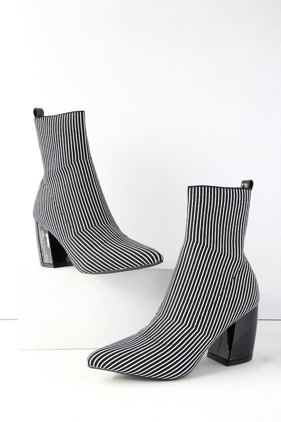 Vintage Style Shoes, Vintage Inspired Shoes Nai Black and White Striped Knit Mid-Calf High Heel Boots - Lulus $51.00 AT vintagedancer.com
