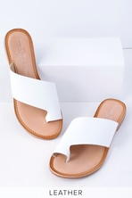 8e64824709295 Lulus Colette - White Nappa Leather Sandals - Ankle Strap Sandals