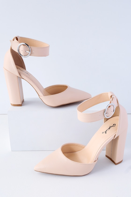 5e67c859ce5fa Cool Nude Heels - Pointed Toe Heels - Ankle Strap Heels