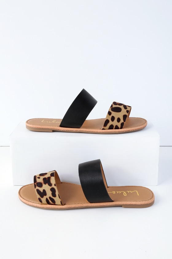 f6241e45eaf4c5 Cute Leopard Print Sandals - Slide Sandals - Flat Sandals