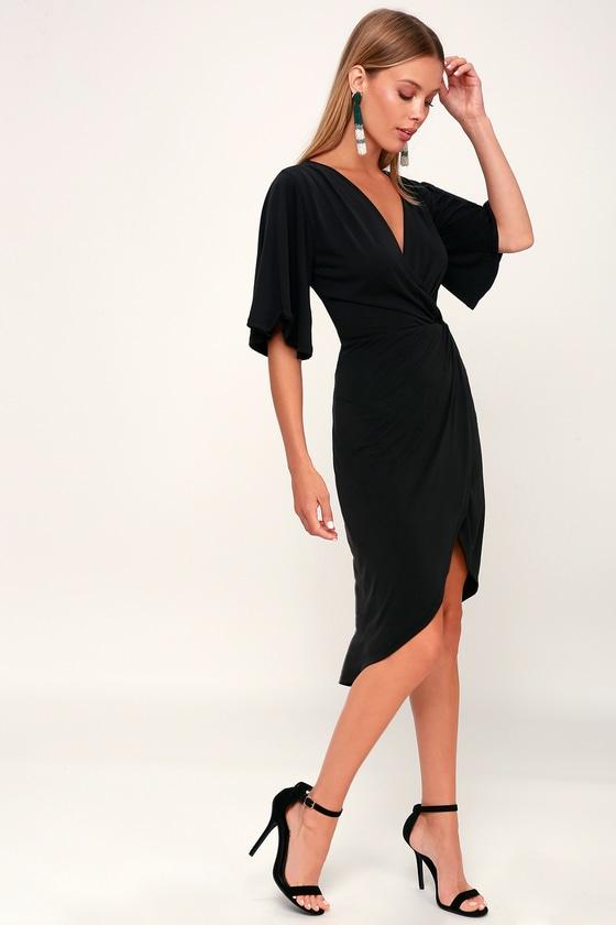 Dulcet Washed Black Surplice Midi Dress