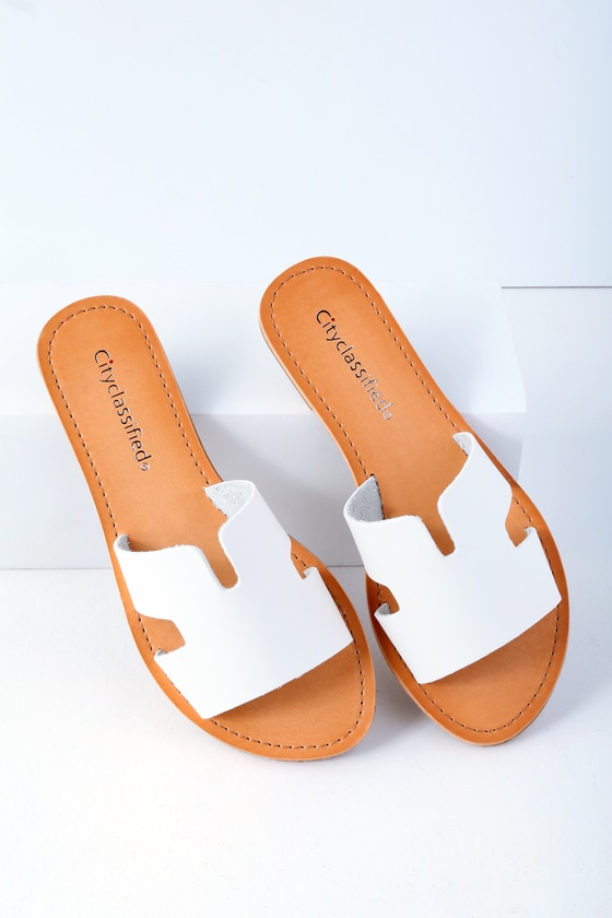 Cool White Sandals - Slide Sandals - Slip-On Sandals