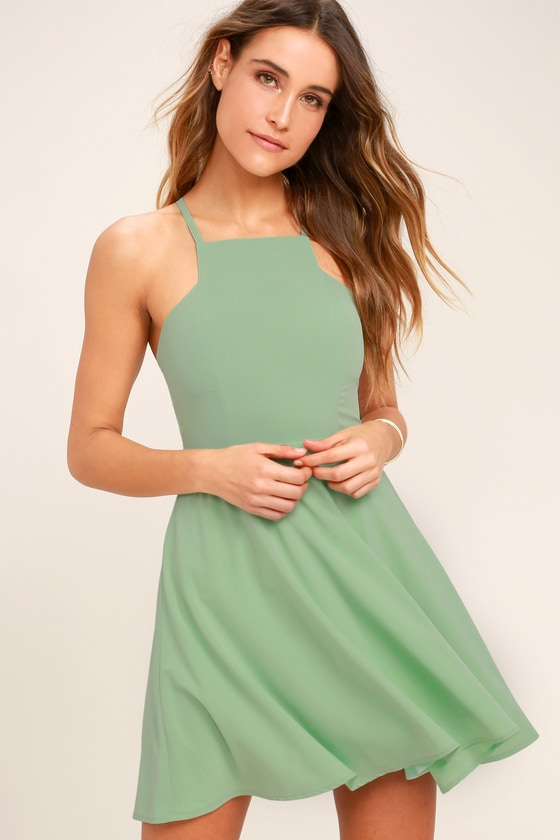 d051222f39 Cute Sage Green Dress - Skater Dress - Fit-and-Flare Dress