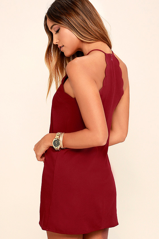 e605ce000d9c Sexy Wine Red Dress - Sleeveless Dress - Scalloped Dress