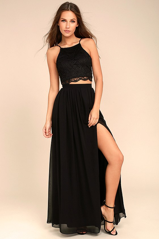 dfdf3e497dd Sexy Black Dress - Lace Dress - Two-Piece Dress - Maxi Dress
