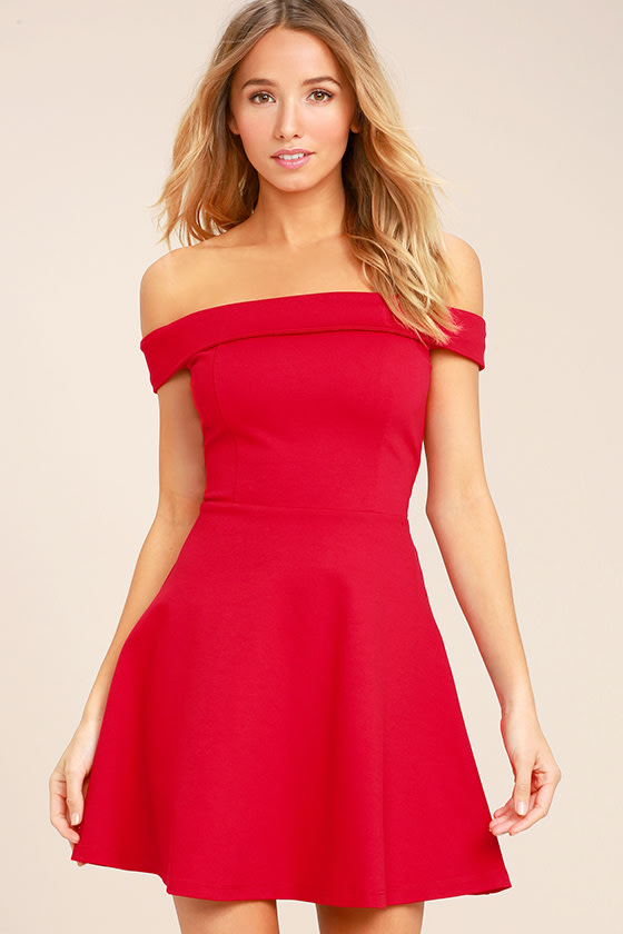 0ae789c11017 Cute Red Dress - Off-the-Shoulder Dress - Skater Dress
