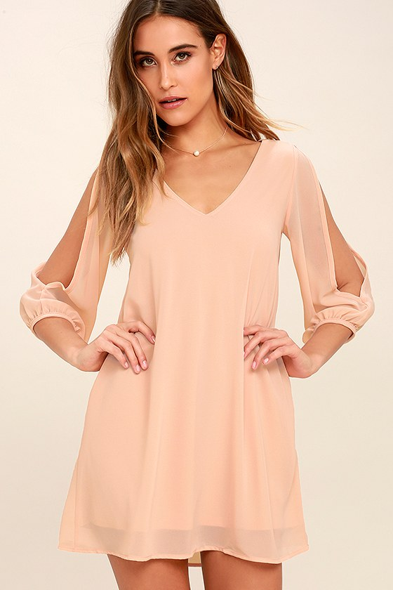 Pretty Blush Pink Dress - Shift Dress - Cold Shoulder Dress dda0b7106