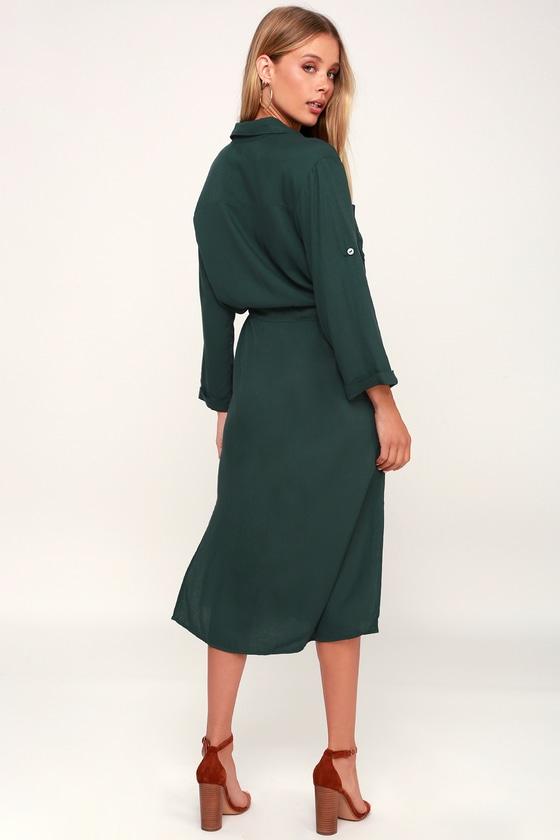 6bdfeccd0239 Classic Forest Green Shirt Dress - Long Sleeve Dress - Midi Dress