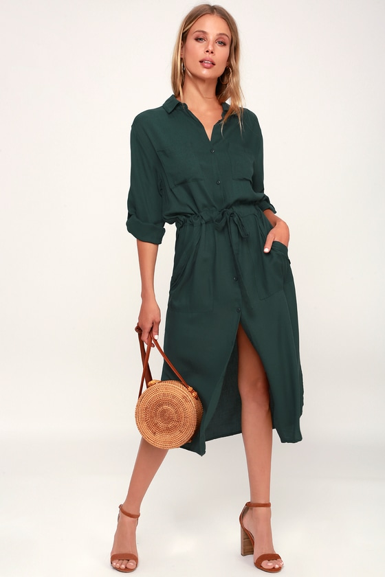 f586298eeb0 Classic Forest Green Shirt Dress - Long Sleeve Dress - Midi Dress