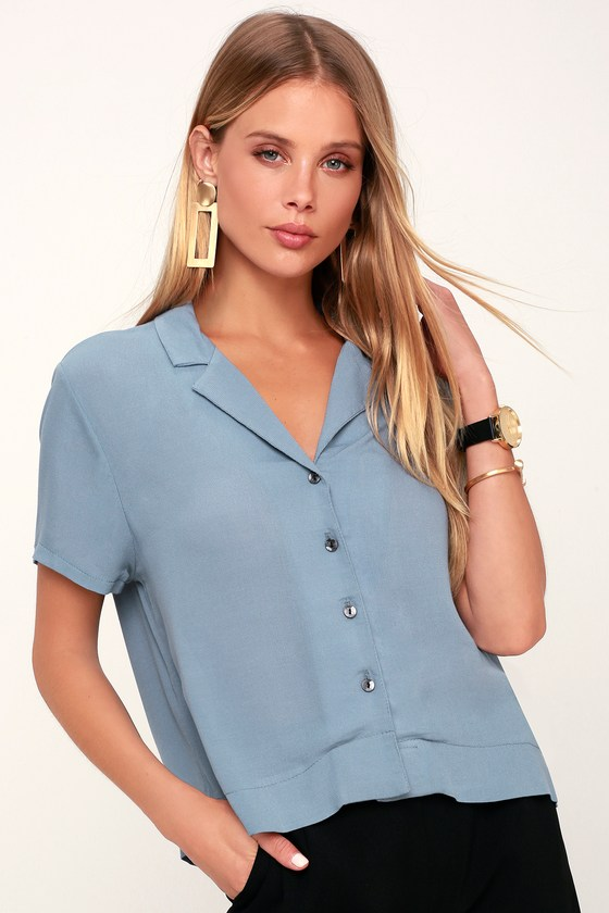 1940s Blouses and Tops Liora Slate Blue Button-Up Crop Top - Lulus $43.00 AT vintagedancer.com