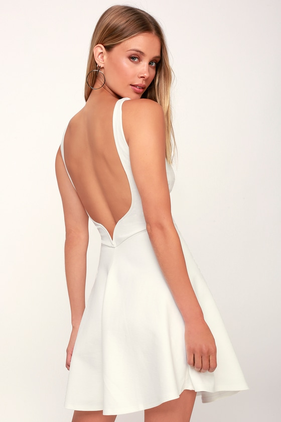 Special Kind of Love White Backless Skater Dress - Lulus