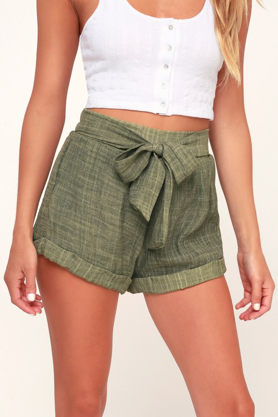 Spell Washed Olive Green Tie-Front Shorts- Trendy summer outfits