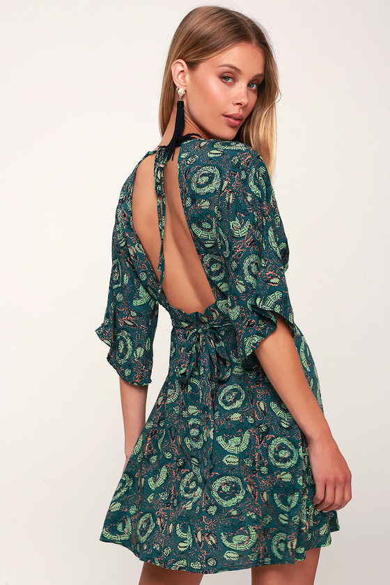 Cabana Teal Green Print Mini Dress - Lulus
