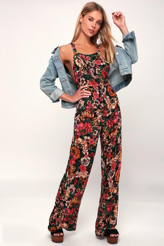 1f1504d2cbd9 Billabong Still Here - Black Floral Print Overalls - Jumpsuit