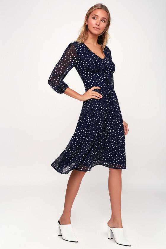 The Mother of Bride Navy Blue Polka Dot Dress