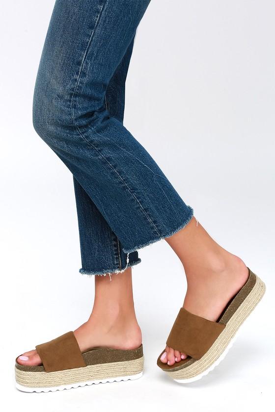 0517c6c36784 Dirty Laundry Pippa - Brown Suede Slides - Flatform Espadrilles