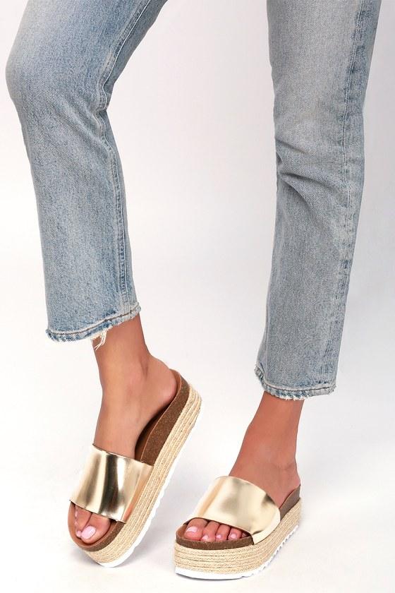 9d23d65ab2ea Dirty Laundry Pippa - Metallic Gold Slides - Flatform Espadrilles