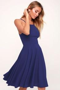 88904e2419 Poppy Patch Navy Blue Floral Print Skater Dress.  52. Irresistible Charm  Royal Blue Midi Dress