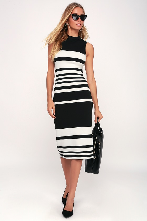 1a8bc949a072 Chic Bodycon Dress - Black and White Striped Dress - Office Dress