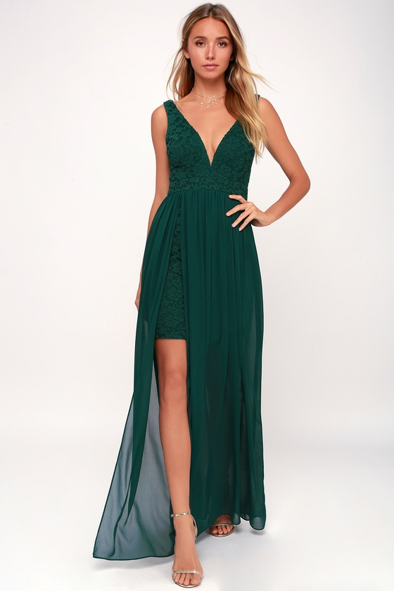 c10835e6c4 Lovely Forest Green Dress - Lace Maxi - Green Homecoming Dress
