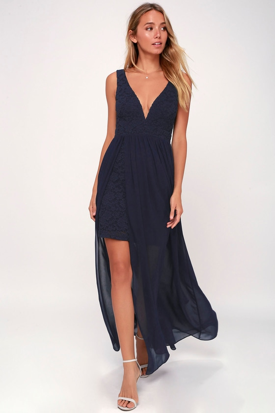 ae0d6b0c892 Lovely Navy Blue Dress - Lace Maxi - Blue Homecoming Dress