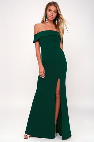 efd1faf6174 Aveline Forest Green Off-the-Shoulder Maxi Dress