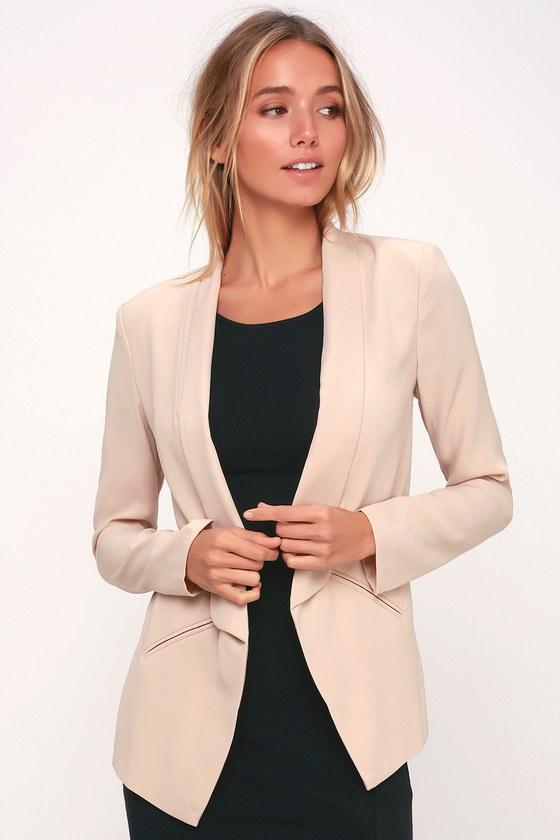 2460854b4fab92 Cute Taupe Blazer - Office Blazer - Tuxedo Blazer