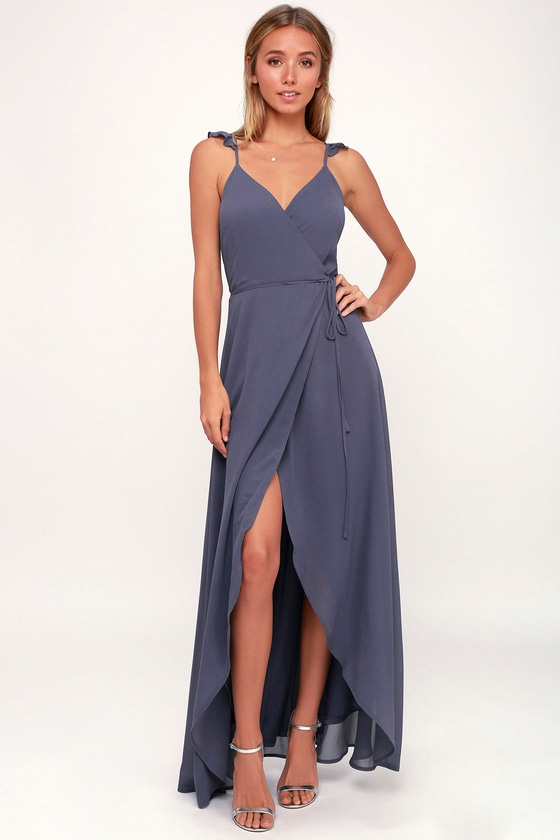 62a47ab9852 Slate Blue Dress - Wrap Dress - High-Low Dress - Midi Dress
