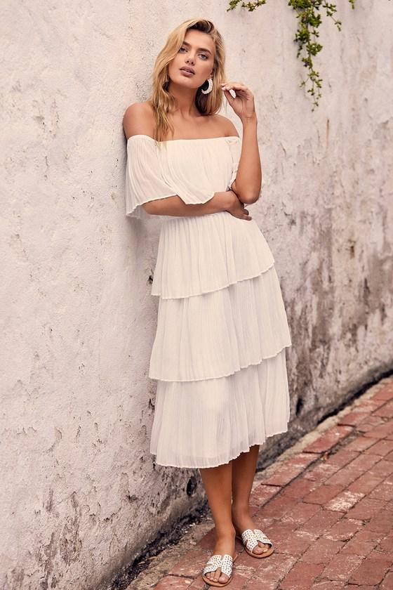 70s Dresses – Disco Dress, Hippie Dress, Wrap Dress Gala Ready White Off-the-Shoulder Ruffle Midi Dress - Lulus $82.00 AT vintagedancer.com