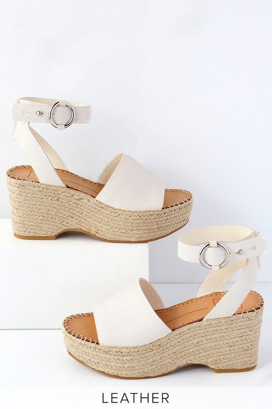f62e254b7363 Dolce Vita Lesly - Off White Leather Wedges - Espadrille Wedges