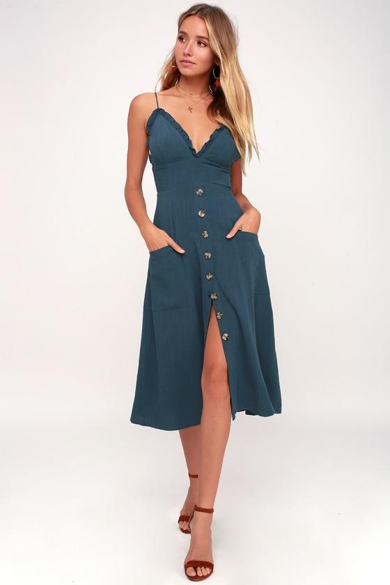 b2cfe5f6be Cute Midi Dress - Blue Dress - Ruffled Dress - Button Up Dress