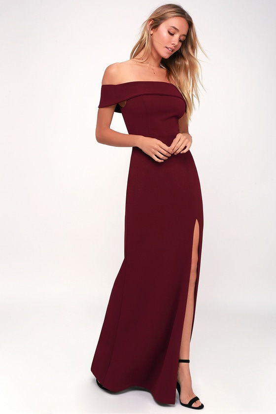 8becae1f35ec Burgundy Maxi Dress - Off-the-Shoulder Maxi Dress - OTS Maxi