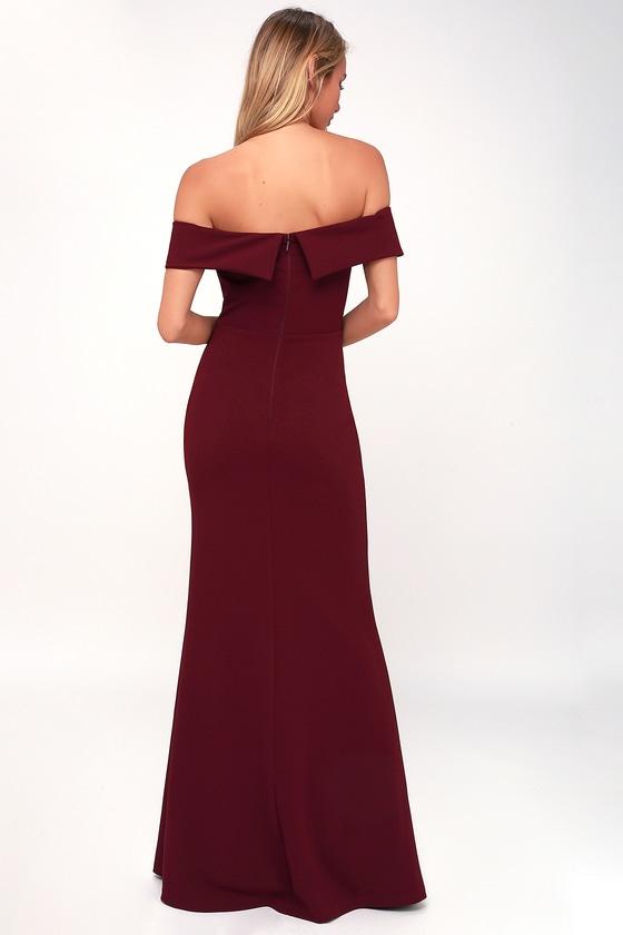 49cfc31be876 Burgundy Maxi Dress - Off-the-Shoulder Maxi Dress - OTS Maxi